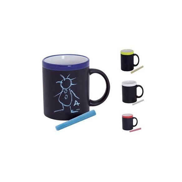taza pizarra con tiza