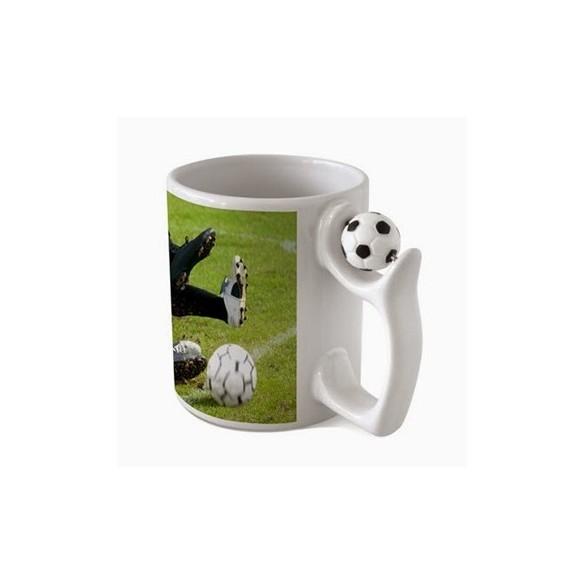 Taza personalizada con asa de fútbol