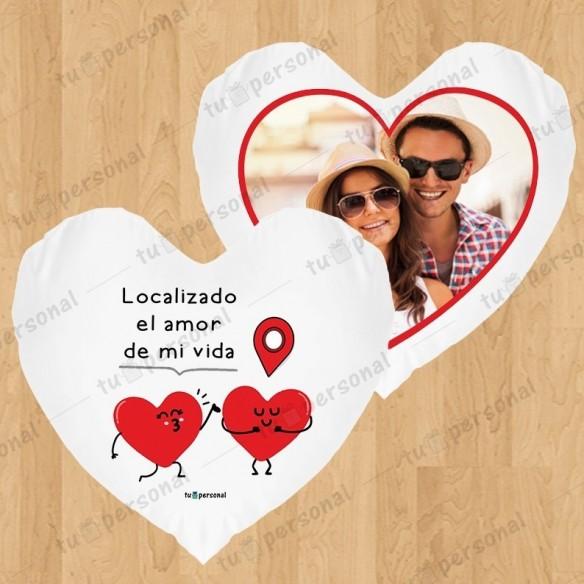 """Cojín corazón """"Localizado el amor"""""""