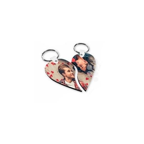 Llaveros de madera corazón pareja personalizados