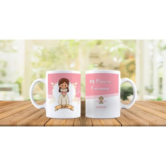 Taza personalizada niña comunión rosa