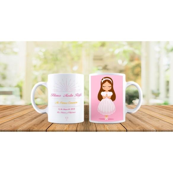 Taza personalizada niña comunión rezando