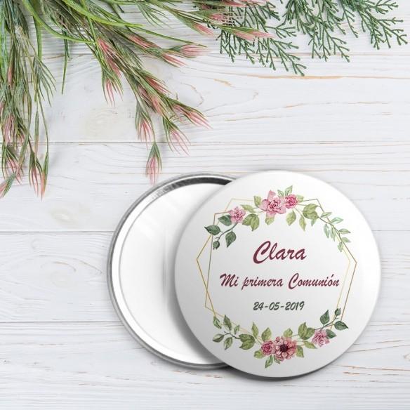 chapa personalizada comunión diseño flores