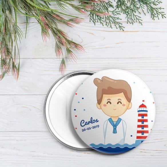 chapa personalizada comunión niño marinero