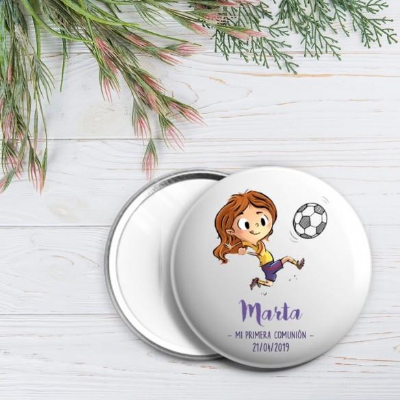 chapa personalizada comunión niña futbolista