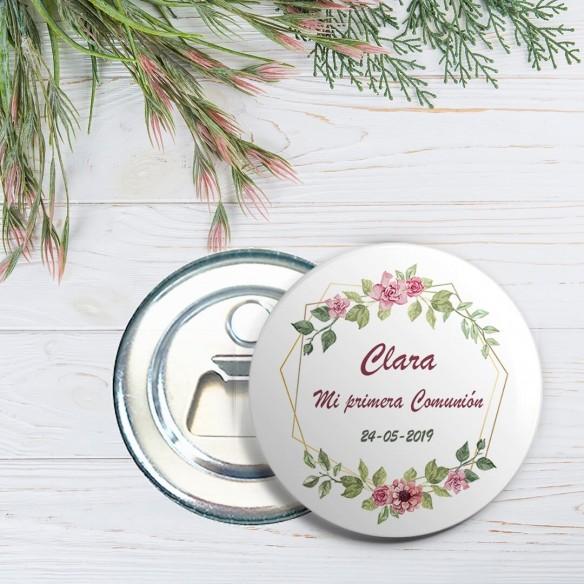chapa personalizada abridor comunión diseño flores