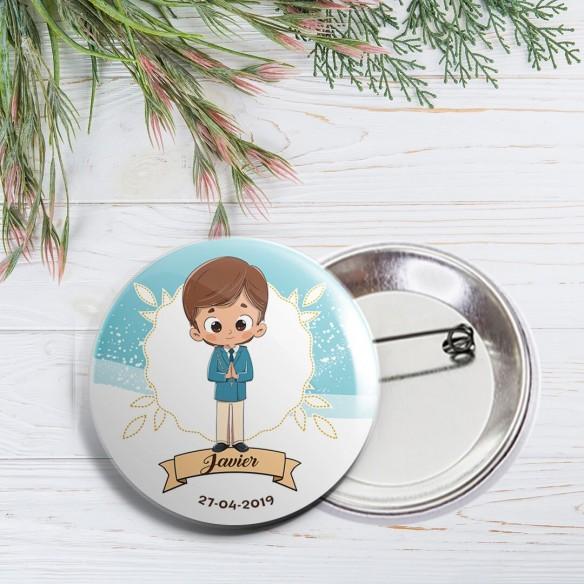Chapa personalizada aguja niño comunión 59mm